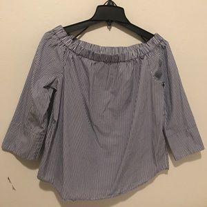 Zara Pinstriped Off-The-Shoulder Top